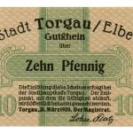 Torgauer Notgeld 1920 10 Pfennig Vorderseite
