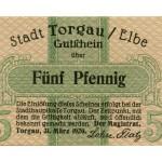 Torgauer Notgeld 1920 5 Pfennig Vorderseite