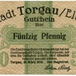 Torgauer Notgeld 1920 50 Pfennig Vorderseite