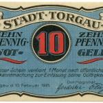 Torgauer Notgeld 1921 10 Pfennig Variante 3 Vorderseite