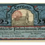Torgauer Notgeld 1921 25 Pfennig Dachdecker-Verbandstag Vorderseite