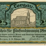 Torgauer Notgeld 1921 25 Pfennig Variante 2 Vorderseite