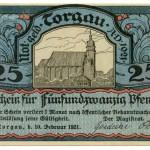 Torgauer Notgeld 1921 25 Pfennig Variante 3 Vorderseite