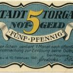 Torgauer Notgeld 1921 5 Pfennig Variante 1 Vorderseite