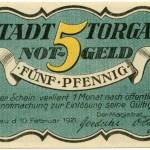 Torgauer Notgeld 1921 5 Pfennig Variante 2 Vorderseite