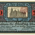 Torgauer Notgeld 1921 50 Pfennig Dachdecker-Verbandstag Vorderseite