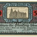 Torgauer Notgeld 1921 50 Pfennig Variante 3 Vorderseite
